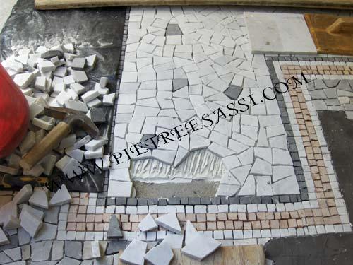 Palladiana e mosaico di marmo pietreesassi for Mosaico pavimento