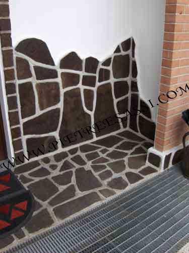 rivestimento ingresso abitazione in porfido
