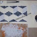mosaico in ciottoli di marmo