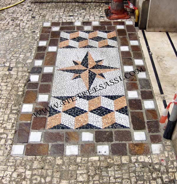 mosaico per pavimento  PIETREESASSI